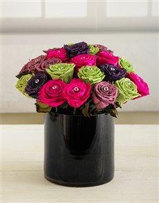 flowers: Blooming Roses in Black Vase!