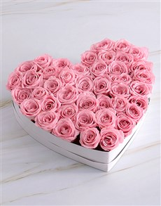 flowers: White Heart Of Pink Preserved Roses!