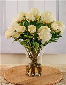 flowers: Silk Cream Peonies in a Vase!