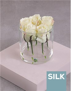 flowers: Cream Silk Rose Stems in a Clear Vase!