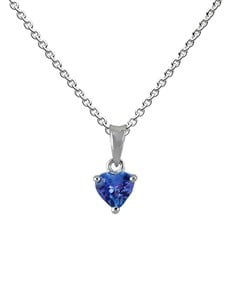 jewellery: 9KT White Gold Heart 0.50ct Tanzanite Pendant!