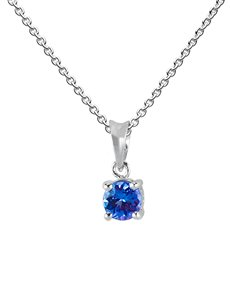 jewellery: 9KT White Gold Round Claw 0.50ct Tanzanite Pendant!