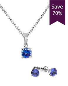 9KT White Gold Tanzanite Pendant Earring Special