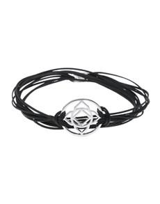 jewellery: 925 Silver Base Chakra Symbol Black Cord Bracelet!