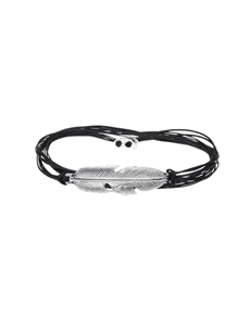 jewellery: Silver Feather and Silk Cord Bracelet!