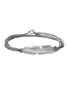 jewellery: Silver Feather and Grey Silk Cord Bracelet!
