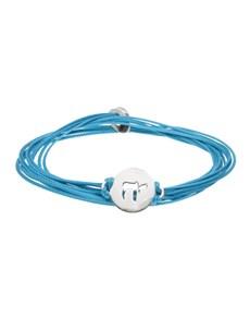 jewellery: Silver Hebrew Chai Symbol Blue Silk Bracelet!