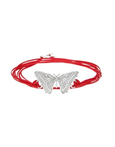 Silver Butterfly and Large Silk Bracelet