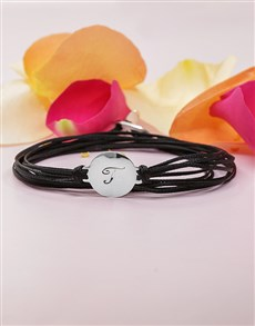 jewellery: Silver Personalised Initial Disk on Silk Cord!