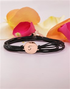 jewellery: 9KT Rose Personalised Initial Disk on Black Silk!
