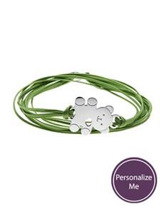 jewellery: Sterling Silver Teddy on a Green Cord Bracelet!