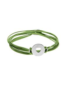 jewellery: Sterling Silver Disc  Green Silk Cord Bracelet!