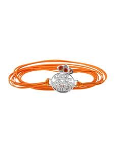jewellery: Silver Gold ShemaHebrew Charm Orange Silk Bracelet!