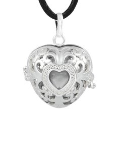 jewellery: Shiroko Harmony Silver Plated Heart Cage Pendant!