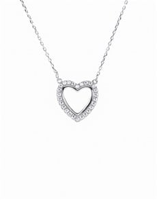 jewellery: Silver Open Heart Cubic Necklace!