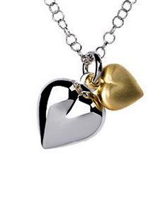 jewellery: Silver and Gold Plated Double Heart Necklace!