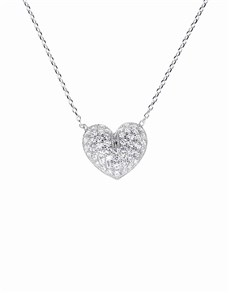 jewellery: Silver Heart Cubic Zirconia Necklace NJHKX004!