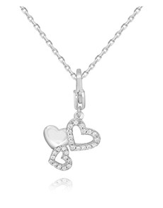 gifts: Silver Triple Open Heart Cubic Necklace!
