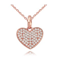 gifts: Rose Silver Pave Cubic Heart Necklace!