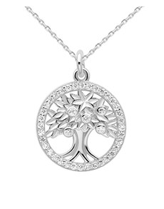 jewellery: Silver Round Cubic Tree of Life Necklace!
