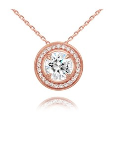 jewellery: Rose Silver Round Halo Cubic Slider Necklace!