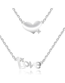 jewellery: Silver Double Heart and Love Cubic Necklace!