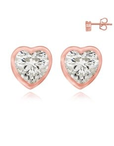 jewellery: Rose Silver Heart Shape Cubic Stud Earrings!