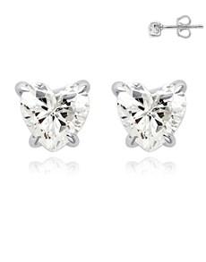 jewellery: Silver Heart Shape Claw Cubic Earrings!