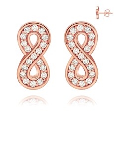 jewellery: Rose Silver Pave Set Cubic Infinity Stud Earrings!