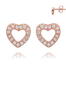 jewellery: Rose Silver Open Heart Pave Set Cubic Studs!