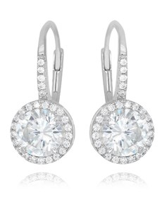 jewellery: Silver Round Cubic Halo Design Drop Earrings!