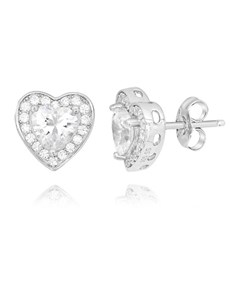 gifts: Silver Heart Shape Cubic Pave Set Earrings!