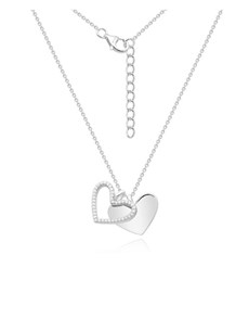 jewellery: Silver Double Heart Dangle Necklace!