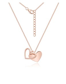 jewellery: Silver Rose Double Heart Dangle Necklace!