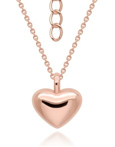 gifts: Silver Rose Medium Puff Heart Necklace!