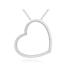 jewellery: Silver Heart Pave Cubic Slider  Necklace!