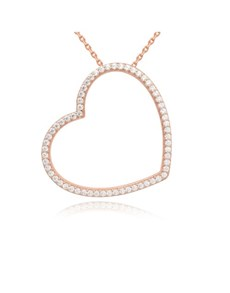 jewellery: Silver Rose Heart Pave Cubic Slider Necklace!