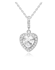jewellery: Silver Heart Halo Pave Cubic Necklace!