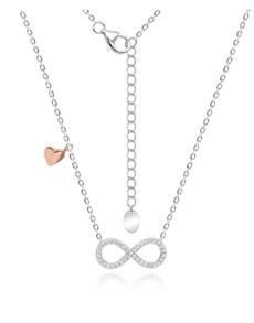 jewellery: Silver And Rose Infinity CZ and Heart Necklace!
