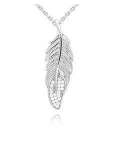 jewellery: Silver Cubic Zirconia Feather Necklace!