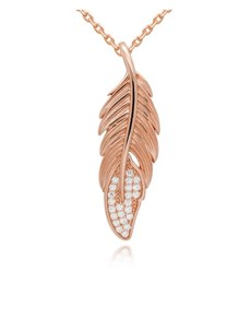 jewellery: Silver Rose Cubic Zirconia Feather Necklace!