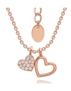 jewellery: Silver Rose Cubic Double Hearts Necklace!