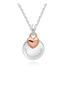 jewellery: Silver And Rose Rnd and Puff Heart Necklace!
