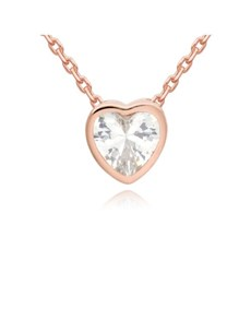jewellery: Rose Silver Cubic Zirconia Heart Necklace!