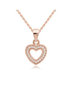 jewellery: Rose Silver Cubic Open Heart Necklace!