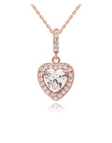 jewellery: 925 Silver Rose Cubic Heart Necklace!