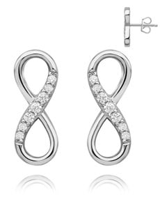 gifts: Silver Half Pave Cubic Infinity Studs!