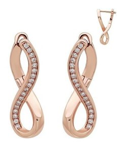 jewellery: Rose Silver Half Pave Cubic Infinity Hoops!