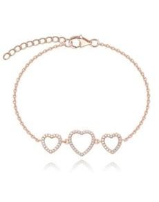 jewellery: Rose Silver Tripple Open Heart Cubic Bracelet!
