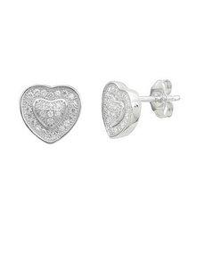 jewellery: Silver Cubic Zirconia Heart Stud Earrings!